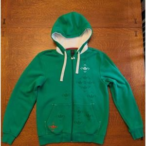 RARE Adidas 2007 Mens S Hoodie Trefoil Green Full Zip EXCELLENT CONDITION